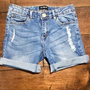 Kidpik Girls Distressed Denim Shorts Size 10